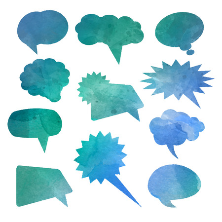 watercolour: Collection of speech bubbles with watercolour effect