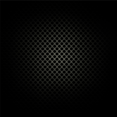 carbon fibre: Dark perforated metal background with highlight in middle