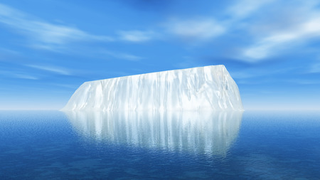 global warming: 3D render of a large iceberg in the ocean