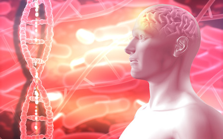 3D medical background with a male figure with brain and DNA strands