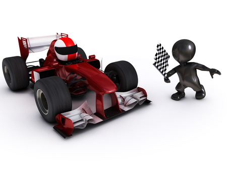 morph: 3d render of Morph man with open wheeled racing car Stock Photo