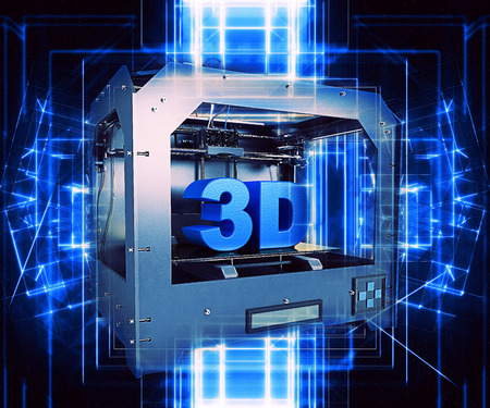 3D rinden de una impresora 3D con un diseño futurista