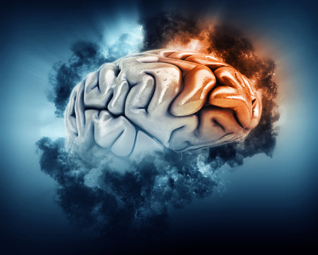 storm clouds: 3D render of a brain in storm clouds with frontal lobe highlighted