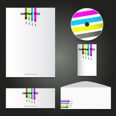compliments: Business stationery layout with paint rollers design