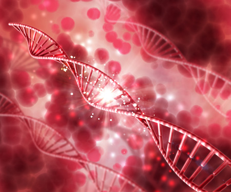 blood: 3D render of a medical background with DNA strands Stock Photo