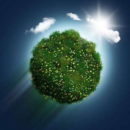 buttercups: 3D render of a grassy globe with daisies and buttercups zooming through a blue sky background