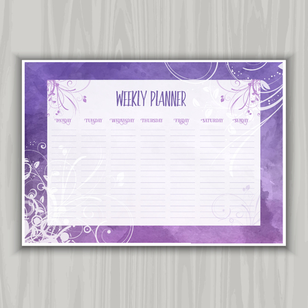 weekly planner: Weekly planner with floral watercolor design