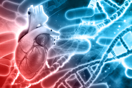 microcosmic: 3D medical background with DNA strands and heart