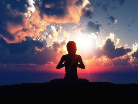 calm woman: 3D render of a female in a yoga pose against a sunset sky Stock Photo