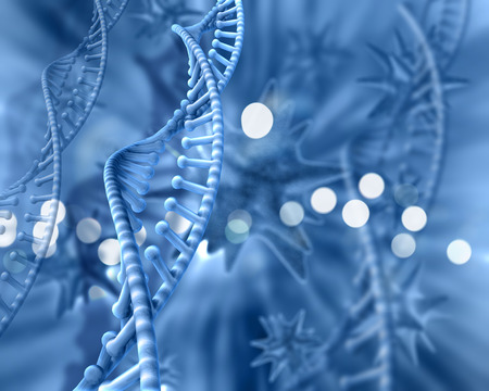 microcosmic: Abstract 3D medical background DNA strands Stock Photo