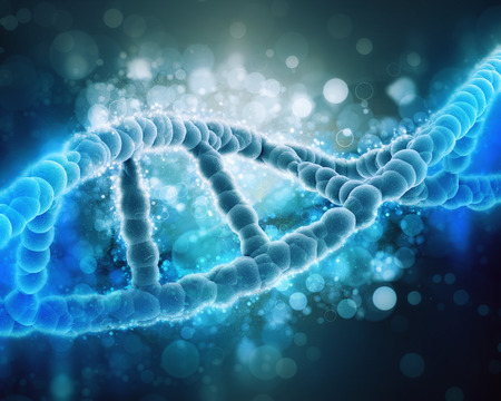 microscopic: 3D medical background with DNA strand Stock Photo
