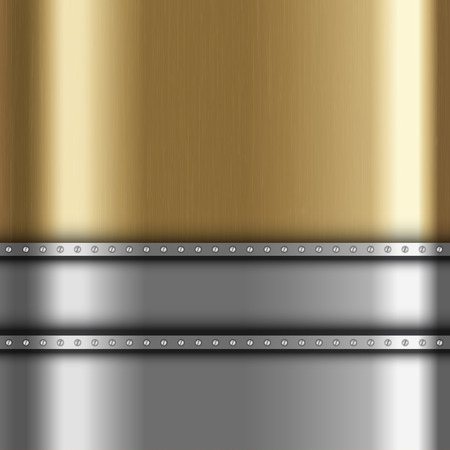 gold metal: Metallic background with gold and silver metal Stock Photo
