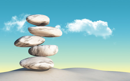 3D render of balancing pebbles on sand