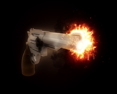 gun barrel: 3D render of a gun with an exploding barrel Stock Photo