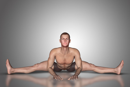 male chest: 3D render of a male figure in a yoga position