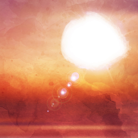 watercolour: Abstract sunset background with watercolour effect Stock Photo