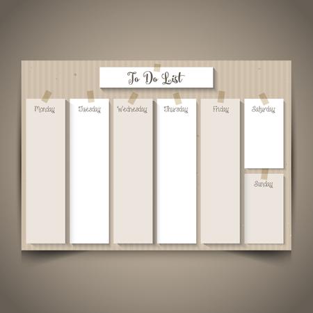 Planificateur hebdomadaire avec un design en carton rétro