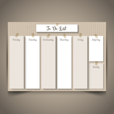 day planner: Weekly planner with a retro cardboard design Stock Photo