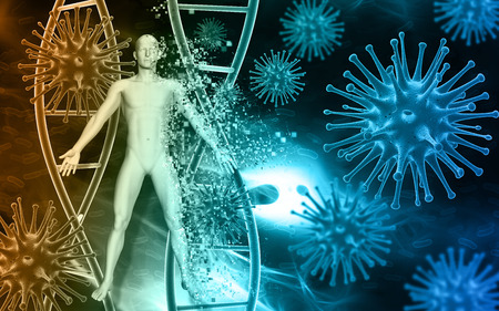 scientific: Medical background with abstract 3D virus cells, blood cells and male figure pixelating Stock Photo