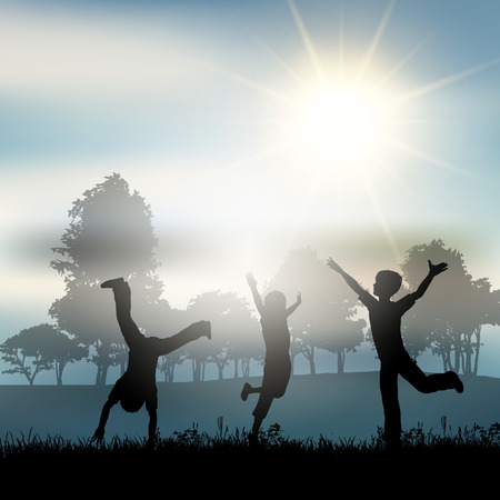tree silhouettes: Silhouettes of children playing in the countryside