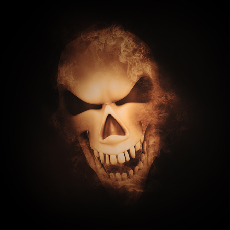fire skull: 3D render of a skull with smoke effect Stock Photo