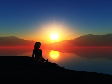 serene people: 3D render of a female in a yoga pose against a sunset sky Stock Photo