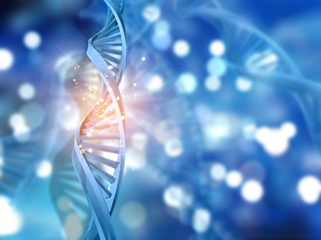 dna strands: 3D DNA strands on an abstract background
