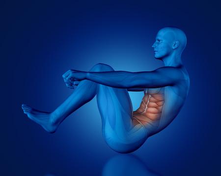 3D render van een blauwe medische figuur met een gedeeltelijke spier kaart in zitten positie Stockfoto