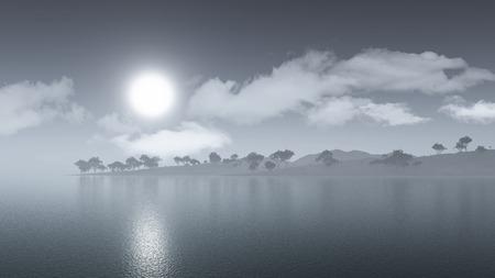 misty: 3D render of a misty island landscape Stock Photo