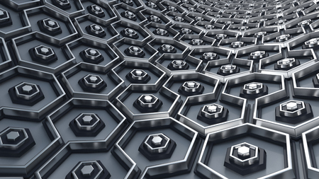 3D Render of Hex Abstract Background Stock Photo