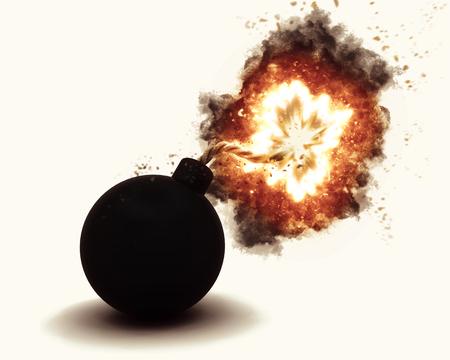 destruct: 3D render of an exploding bomb