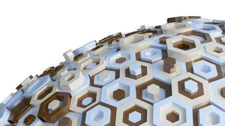 perpendicular: 3D Render of Hex Abstract Background Stock Photo