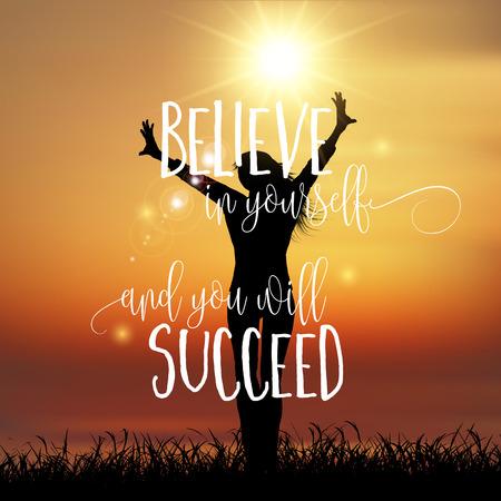 Silhouette einer glücklichen Frau mit einem inspirierend Zitat Standard-Bild - 56361929