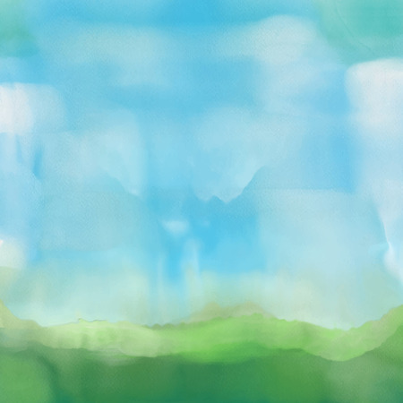 vacation summer: Abstract landscape in a painted watercolor effect
