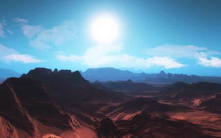 planetary: 3D render of a surreal planetary landscape