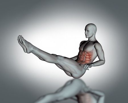 anterior: 3D render of a medical figure in sit up position with partial muscle map Stock Photo