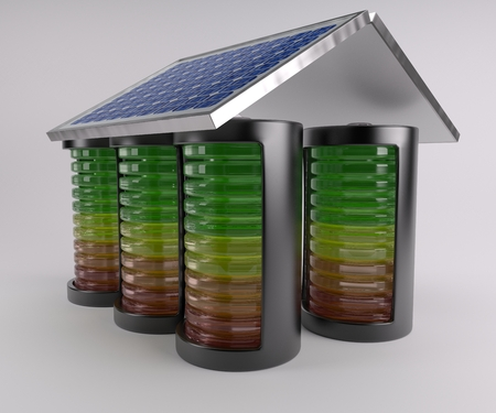 electric charge: 3D Render of Battery Solar Charge Levels