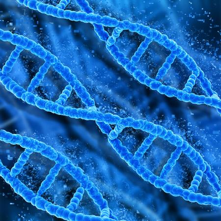 dna strands: 3D medical background with DNA strands pixelating