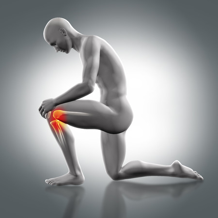 partial: 3D render of a male medical figure holding knee with partial skeleton