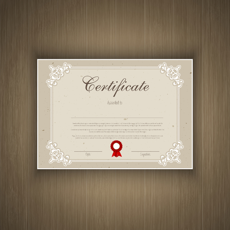 certify: Decorative certificate design on a wood texture background