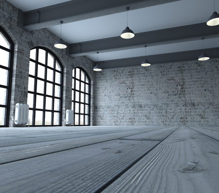 3d render of Blank wall in empty room with windows Stok Fotoğraf