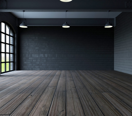 3d render of Blank wall in empty room with windows Stock Photo