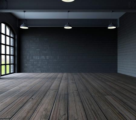 3D rendering di muro bianco in stanza vuota con le finestre