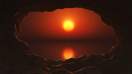 hideout: 3D render of a view from a cave looking out to a sunset sea Stock Photo