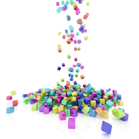 structure metal: 3d render of Rainbow coloured cubes