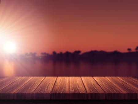 defocussed: 3D render of a wooden table with a defocussed tropical island