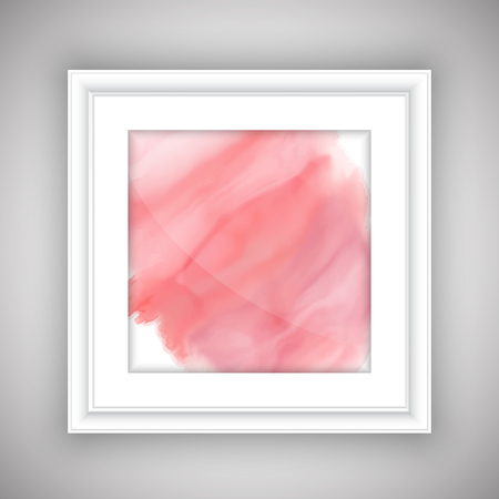 whie: Pink watercolor design in a whie picture frame
