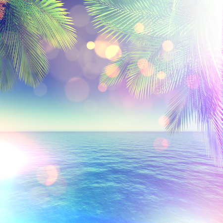 sea transport: 3D render of a tropical landscape with palm trees and ocean with retro effect Stock Photo