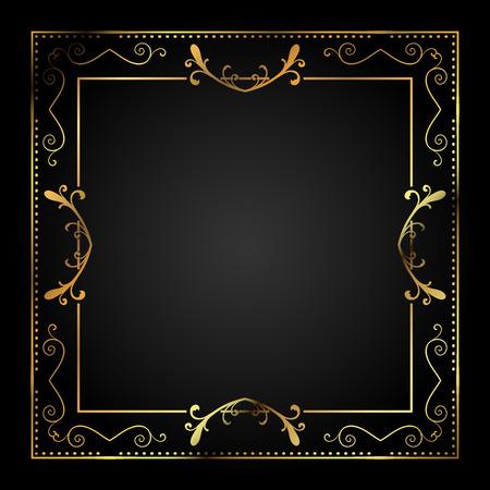 black gold: Stylish metallic gold border on a black background Stock Photo