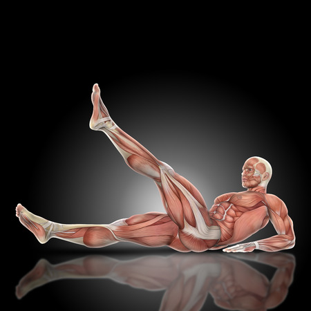 abdominal exercise: 3D render of a medical figure bodybuilder with muscle map in a leg raise pose